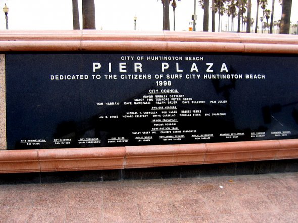 Pier Plaza Dedicated to the Citizens of Surf City Huntington Beach